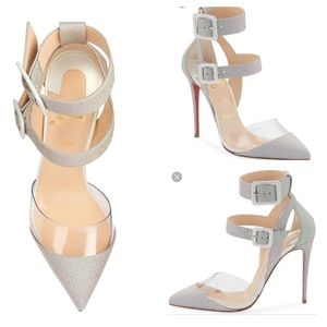 New Christian Louboutin Silver Multimiss 100 Pump